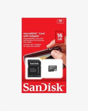 Karta SanDisk microSD 16 GB + Adapter